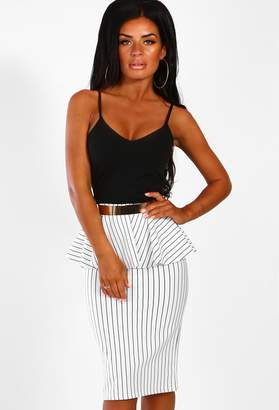 747faa0e9af Pink Boutique Call The Shots Monochrome Stripe Belted Peplum Midi Dress