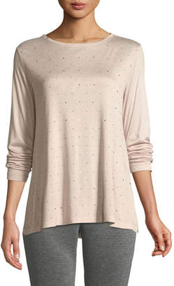 St. John Sleek Jersey Long-Sleeve T-Shirt w/ Sequins