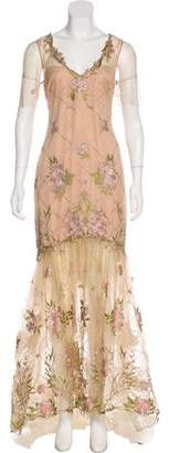 Marchesa Embroidered Short Sleeve Gown w/ Tags