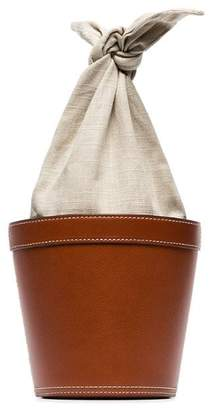 Staud brown Britt leather linen bucket bag