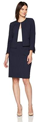Tahari by Arthur S. Levine Women's Pinstripe Skirt Suit with Collarless Jacket