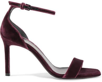 Saint Laurent - Amber Velvet Sandals - Burgundy