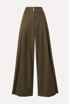 ANNA QUAN - Madison Pleated Twill Wide-leg Pants - Taupe
