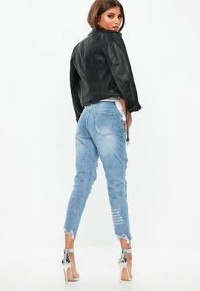 Missguided Blue Distressed Raw Hem Denim Skinny Jeans, Blue