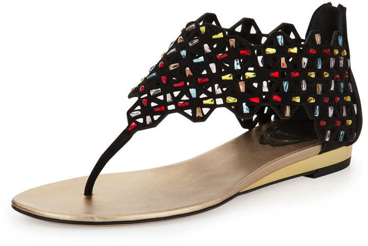 Rene Caovilla Cutout Suede & Crystal Thong Sandal