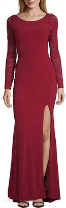 My Michelle Long Sleeve Fitted Gown-Juniors