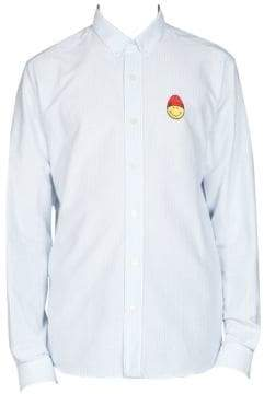 Ami Long Sleeve Smile Patch Button Down Shirt