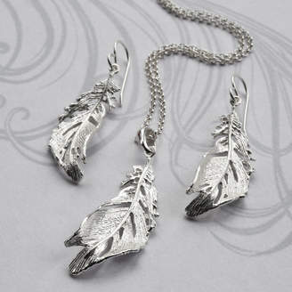 Martha Jackson Sterling Silver Soft Feather Jewellery Set