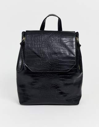 Pimkie mock croc back pack in black