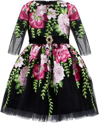 David Charles Embroidered Tulle Dress