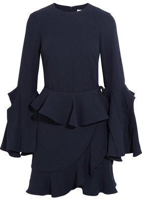 Rebecca Vallance - El Chino Ruffled Crepe Mini Dress - Navy $350 thestylecure.com