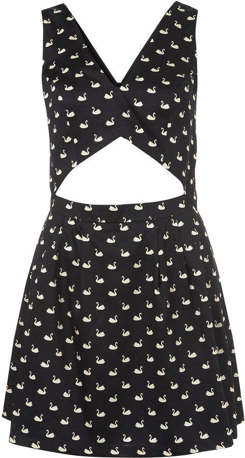 Swan Print Cutout Sun Dress