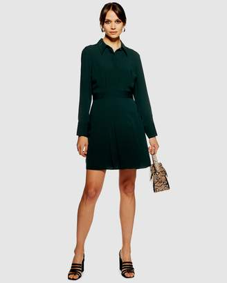 Topshop Pleated Mini Shirt Dress