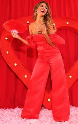 PrettyLittleThing Red Thick Satin Bardot Jumpsuit