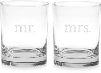 Culver Mr. & Mrs. Double Old-Fashioned Glasses, Set of 2
