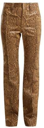 Chloé Straight Leg Python Print Leather Trousers - Womens - Brown Print