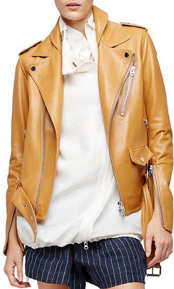 3.1 Phillip Lim3.1 Phillip Lim Leather Biker Jacket, Saddle