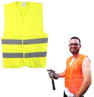 AllTopBargains New Construction Traffic Safety Vest Mesh School Hunting Orange Yellow One Size