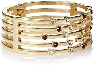 Fragments for Neiman Marcus Ruby-Red & White Rhinestone Hinged Bangle Bracelet
