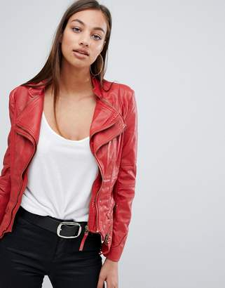 Forever Unique doubled collared faux leather jacket
