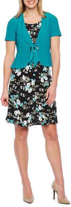 Perceptions Short Sleeve Floral Puff Print Jacket Dress