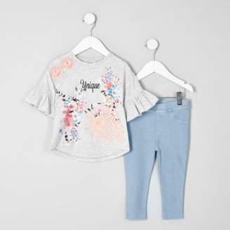 River Island Mini grey 'unique' floral T-shirt outfit