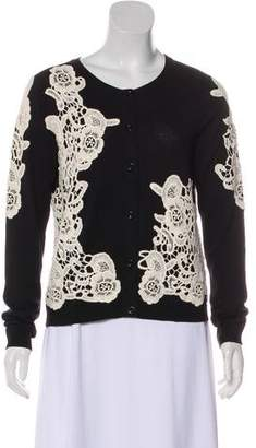 Alice + Olivia Embroidered Long Sleeve Cardigan
