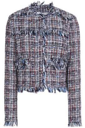 MSGM Fringe-Trimmed Cotton-Blend Tweed Jacket