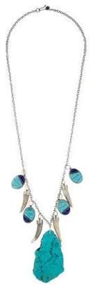 Melissa Joy Manning Turquoise & Antler Tip Pendant Necklace