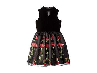 Us Angels Sleeveless Stretch Velvet Dress with Embriodered Lace Skirt (Big Kids)
