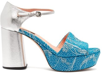 Rochas Brocade And Leather Platform Sandals - Womens - Blue Multi