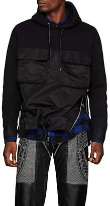 Sacai Men's Tech-Satin & Cotton-Blend Jersey Hoodie - Black
