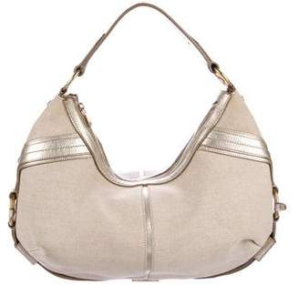 Saint Laurent Metallic Leather-Trimmed Hobo