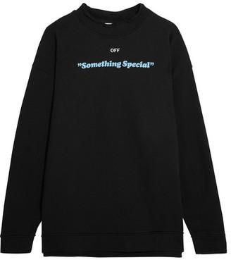 Off-White - Oversized Printed Cotton-jersey Sweatshirt - Black $555 thestylecure.com