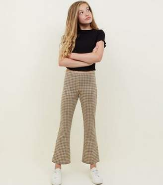 New Look Girls Yellow Check Print Kick Flare Trousers