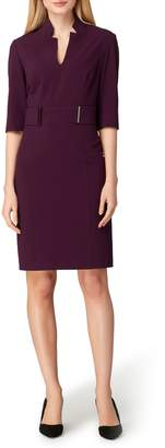 Tahari Stretch Belted Sheath Dress