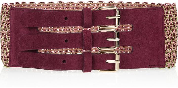 M Missoni Stretch-knit and suede belt