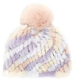Jocelyn Women's Savage Love Pastel Stripe Mink & Fox Fur Pom-Pom Beanie