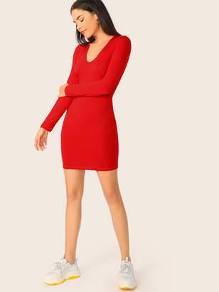 79a77d25592 Shein Solid Long Sleeve Form Fitted Dress