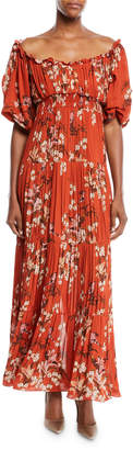 Johanna Ortiz Viajes Del Alma Off-the-Shoulder Short-Sleeve Floral-Print Silk Georgette Pleated Gown