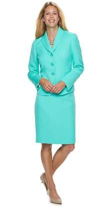 Le Suit Women's Jacquard Aqua Jacket & Skirt Suit