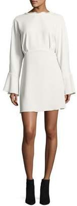 IRO Ivanoe Deep-V Back Bell-Sleeve Mini Dress, Ivory