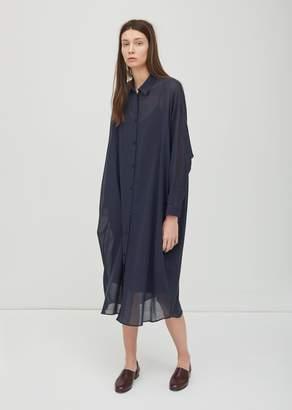 Dusan Dušan Cotton Voile Long Shirt Dress Midnight