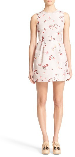 Women's Red Valentino Flower Bouquet Print Faille Dress