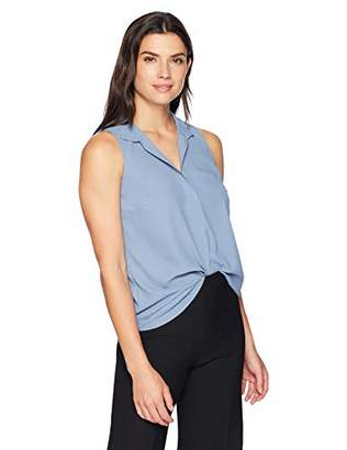Lark & Ro Women's Sleeveless Ruffle Neck Blouse