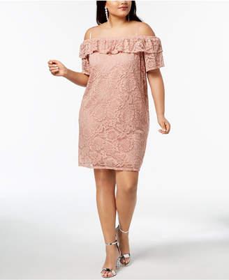 City Studios Trendy Plus Size Off-The-Shoulder Lace Flounce Dress
