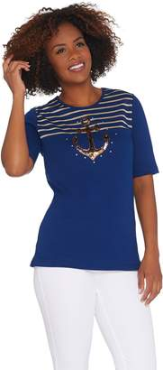 Factory Quacker Glam Anchor Sequin and Stripe Elbow Sleeve T-shirt