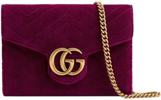 Gucci GG Marmont 2.0 Matelasse Velvet Wallet on a Chain