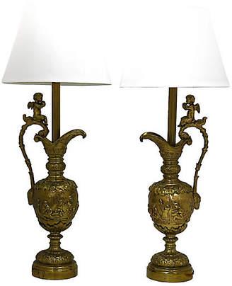 One Kings Lane Vintage French Brass Cherub Lamps - Set of 2 - Rose Victoria