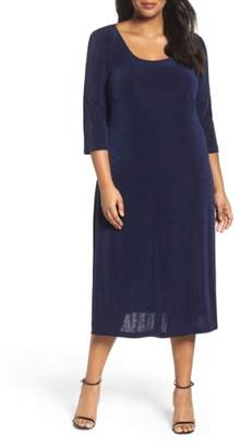 Vikki Vi Three-Quarter Sleeve Stretch Knit A-Line Dress